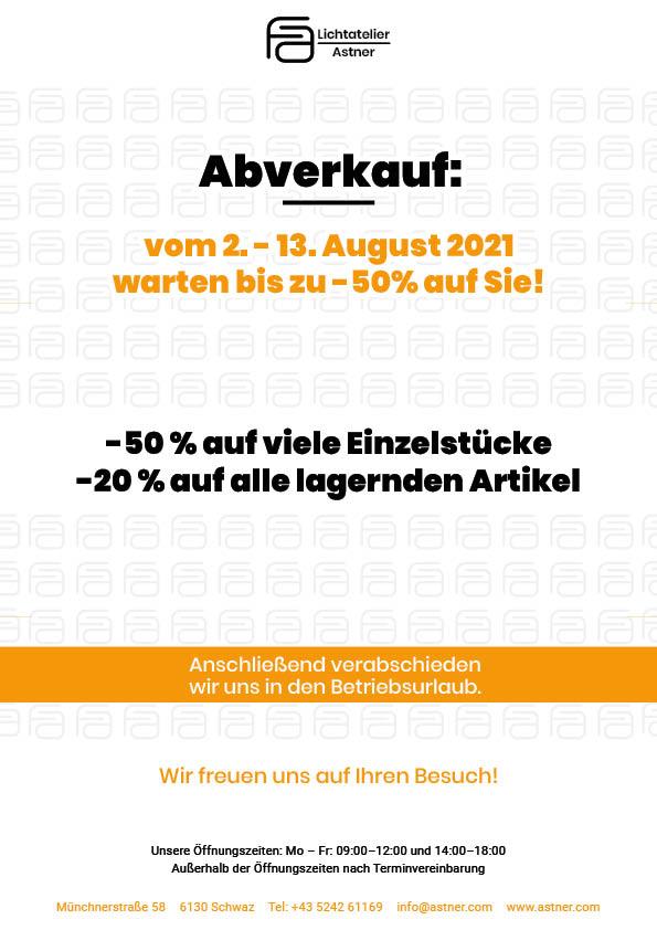 Lichtatelier Astner Abverkauf